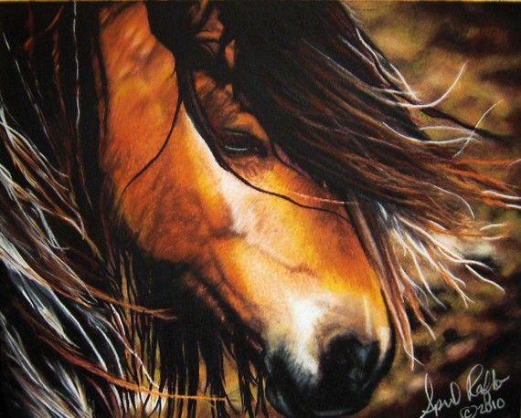 Pastel Drawing Equine Vanner Mustang Horse Western Fine ...