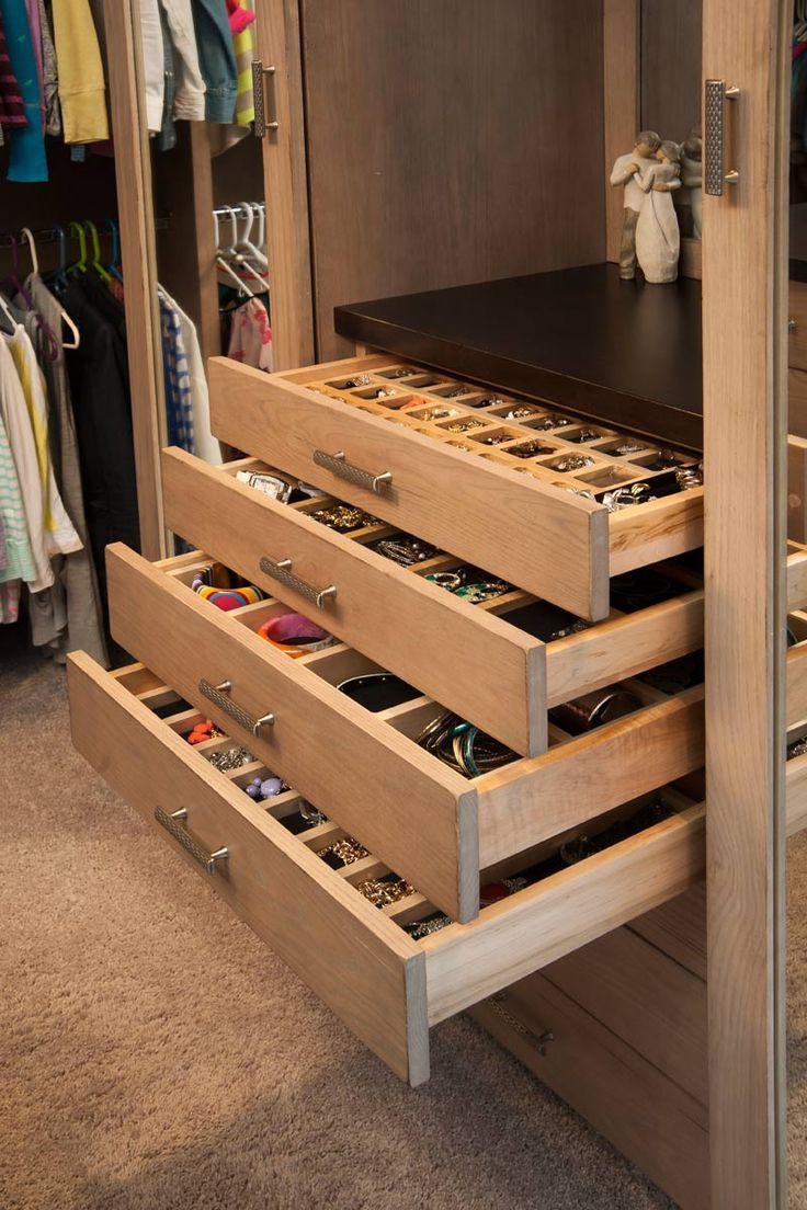 Bathroom makeup organizers - Closet With Jewelry Storage Drawers My Home Hopefully Pinterest