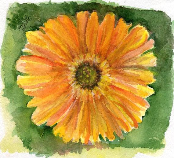 Yellow Zinnia Watercolor Painting original by SharonFosterArt   10 00Yellow Zinnia