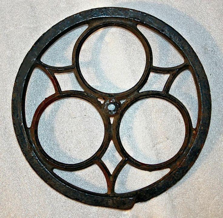 Antique Cast Iron Flywheels : Antique industrial steampunk primitive cast iron wheel