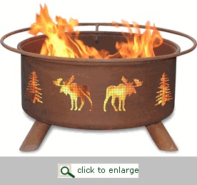 Need to camp and have the fire OFF the ground?  Try out this one with a moose on it...  Or a few of them.  Oh, and some trees.