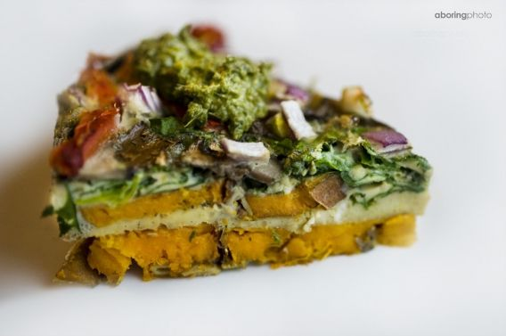 Roasted veg frittata sweet potato, spinach and mushroom