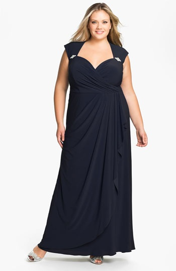 Xscape Cap Sleeve Draped Mesh Gown (Plus) available at Nordstrom