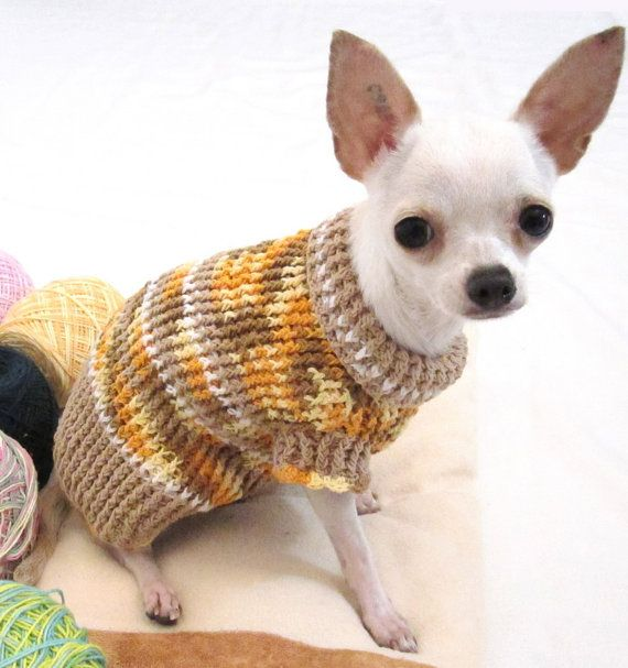 Free Crochet Pattern Chihuahua Sweater : Rustic Dog Sweater Chihuahua Jumper Puppy Handmade Crochet ...