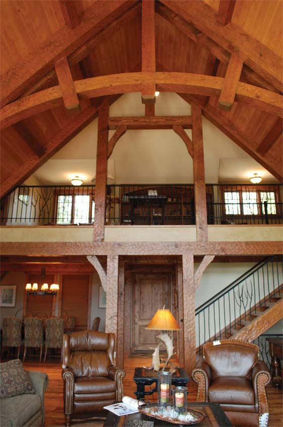 Timber frame great room home decor pinterest for Timber frame great room