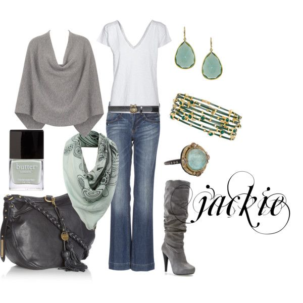 Gray and turquoise, light teal, created by jackie22 on Polyvore