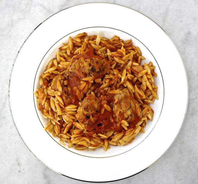 One Pot Greek Chicken with Kritharaki (Orzo) and Tomato (would be a ...