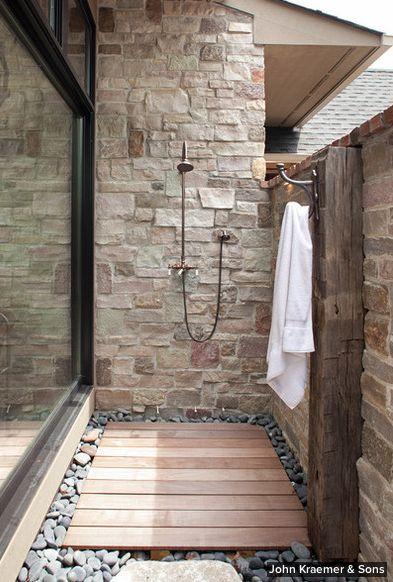 indoor outdoor shower bathroom pinterest