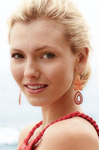 Stella & Dot Capri Chandelier Earrings -- Coral