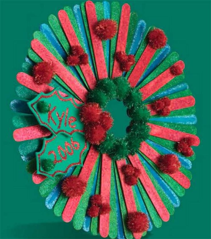 Christmas Craft Ideas With Popsicle Stick : Craft stick christmas wreath ideas