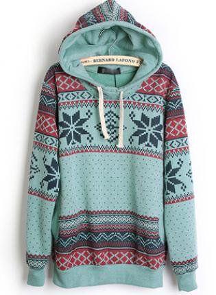 Hooded Geometric Blue Sweatshirt