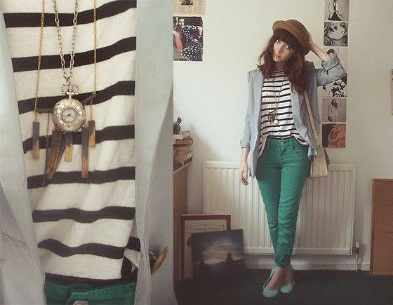 River Island Striped Top, Catsworld Blue Blazer, Jeans, Bowler Hat, River Island Pocketwatch Necklace, Taking Bag Sunday Leather Necklace
