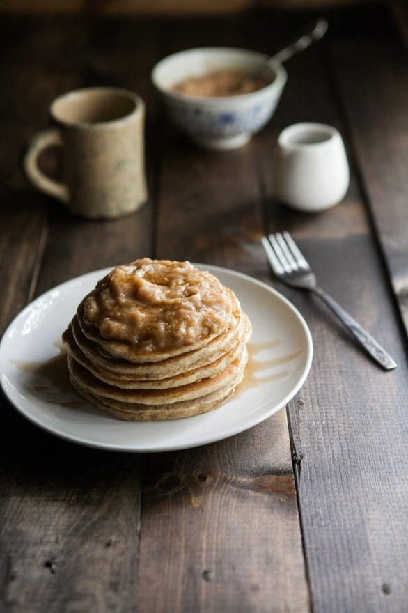 Hazelnut Pancakes with Roasted Rhubarb Cardamom Compote #Recipes