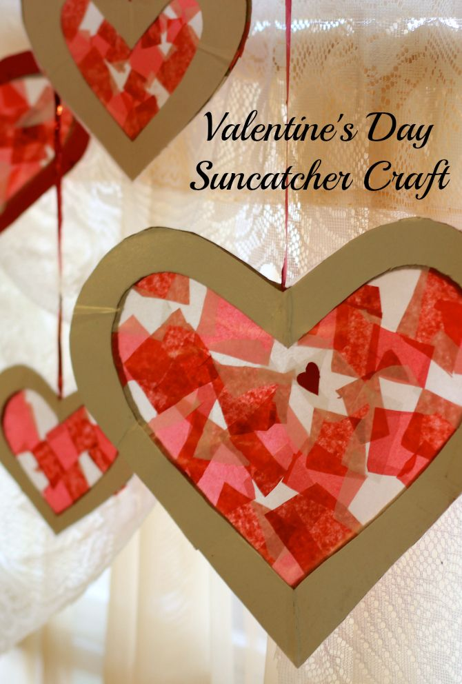 Easy Valentine's Day Suncatcher Craft For Kids to do using leftover gift boxes and tissue paper from Christmas #repurpose