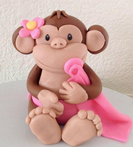 baby, baby monkey, baby shower, birthday, cake topper, cake, fondant ...
