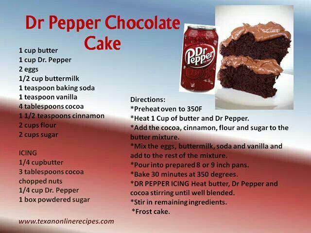 Dr Pepper Chocolate Cake Recipe