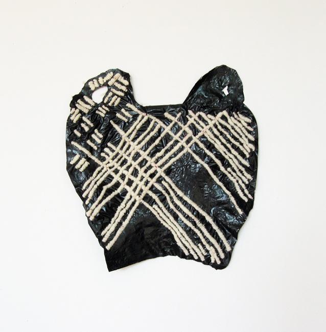 Stitched plastic bag.