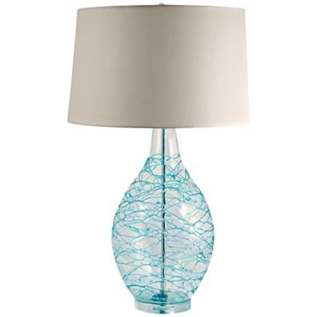 blue glass swirl over clear glass table lamp. Black Bedroom Furniture Sets. Home Design Ideas