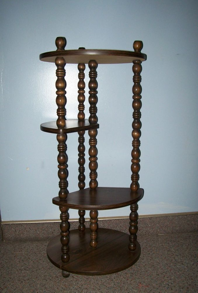 tier plant display stand lamp table w turned wood legs 35 inches tall. Black Bedroom Furniture Sets. Home Design Ideas