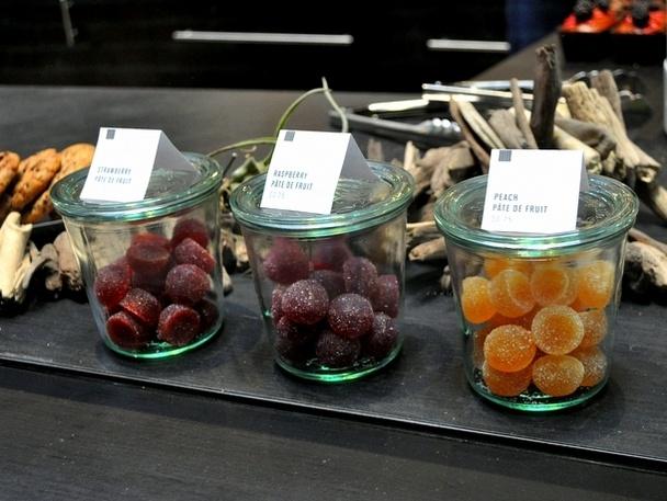 Strawberry, raspberry, and peach pate de fruit
