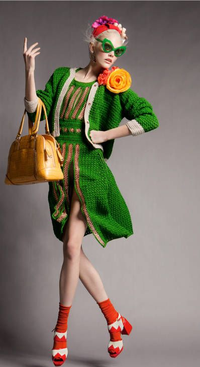 Paule Ka crochet dress on model Dani Seitz in Vogue Portugal April 2012.