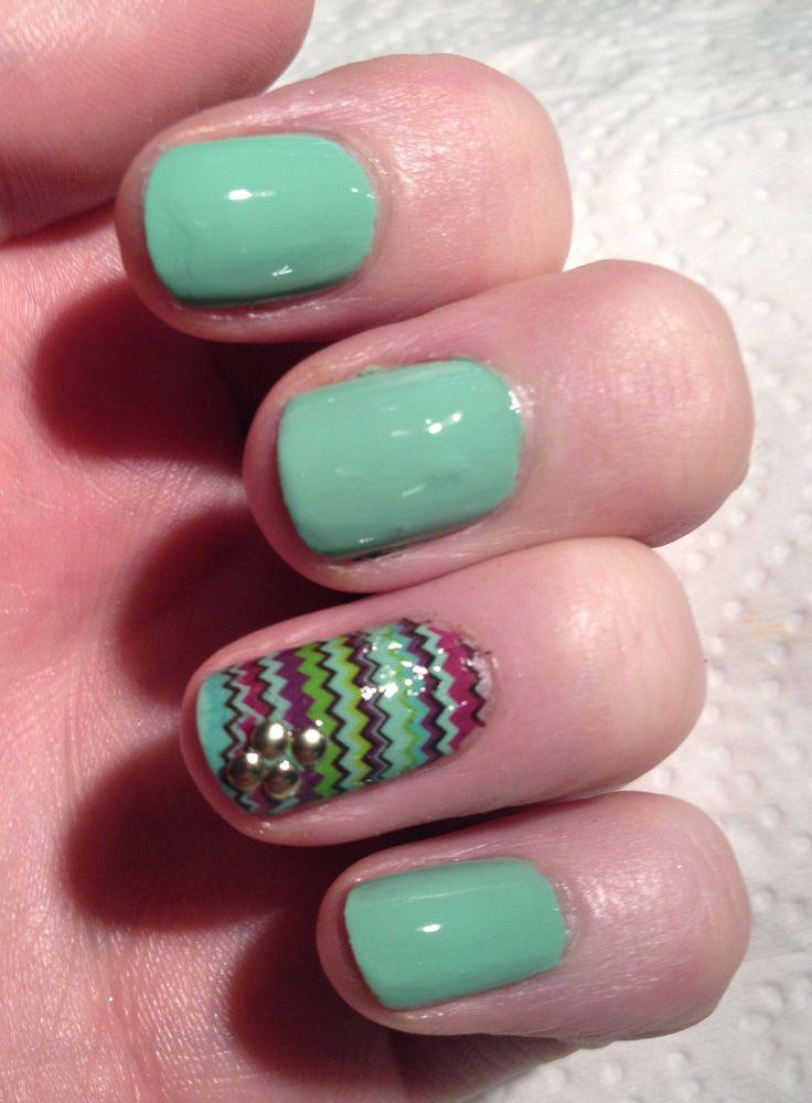 turquoise zig zag nail design | Nails, Nails, Nails! | Pinterest