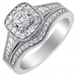 Princess Cut Diamond Wedding Set in 14kt White Gold (5/8ct tw