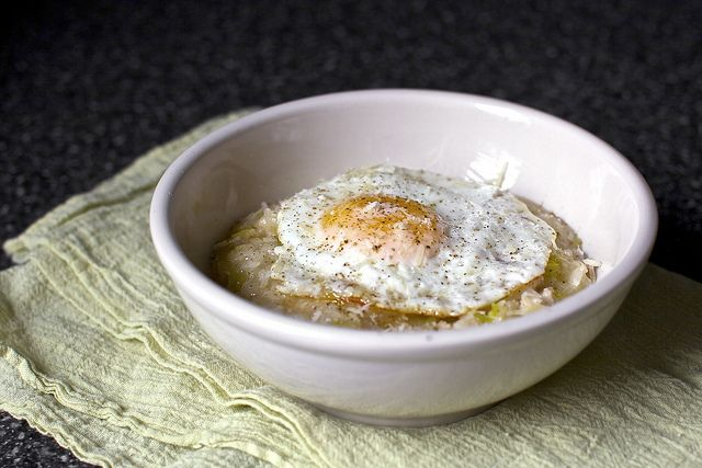 bacon, egg and leek risotto- smitten kitchen