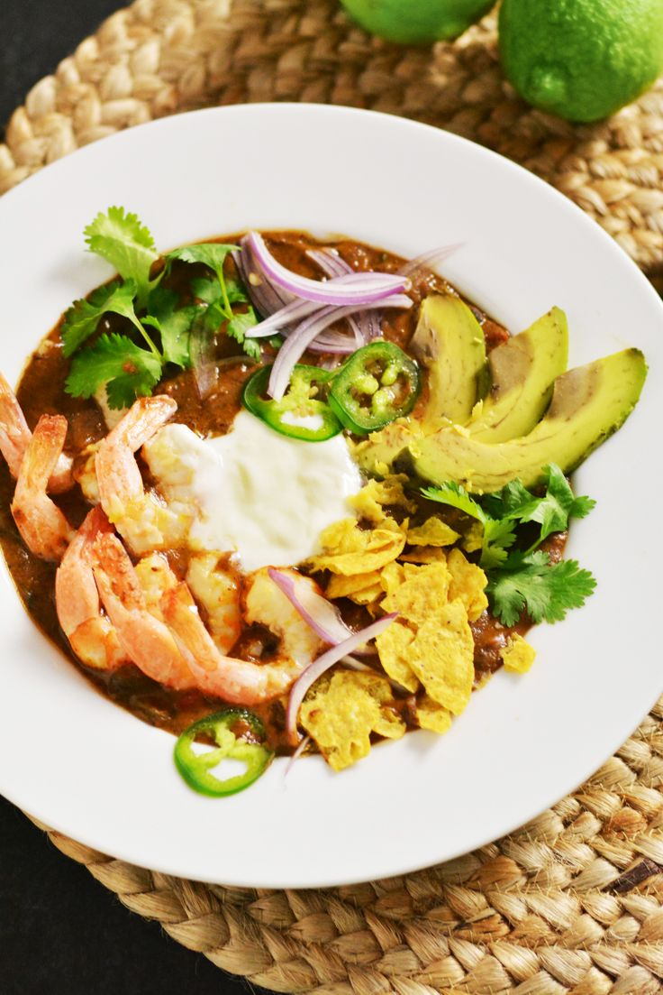Black Bean Soup with Lime Marinaded Shrimp | Recipe