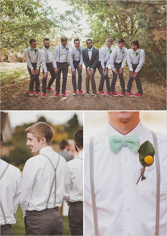 Backyard Fall Wedding - groomsman in bow ties and suspenders, love how the grooms not identical you can tell whos getting married, like this idea