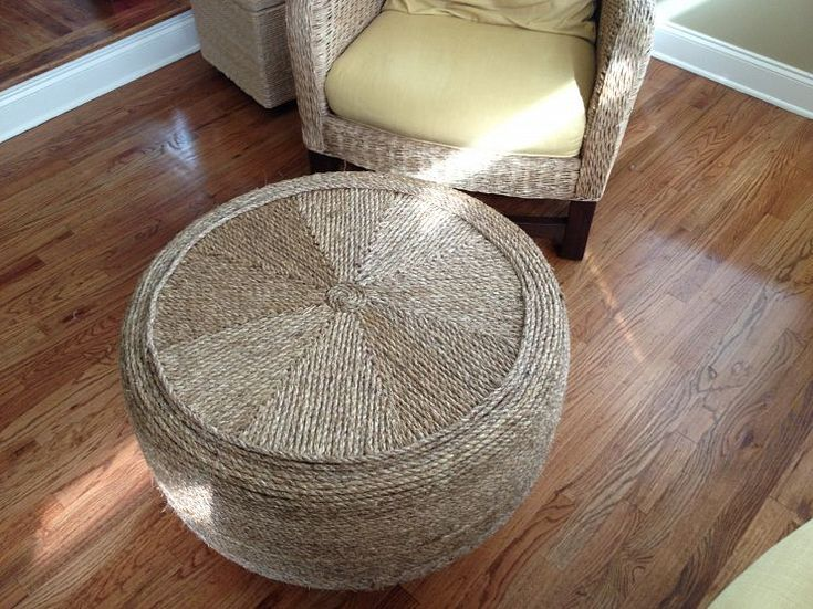 Ottoman made out of an old tire