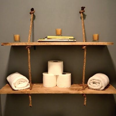 diy hanging rope shelf ideas repurpose ideas pinterest. Black Bedroom Furniture Sets. Home Design Ideas