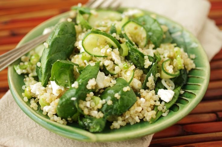 Recipe for Quinoa salad with baby spinach, feta, and scallions - The ...
