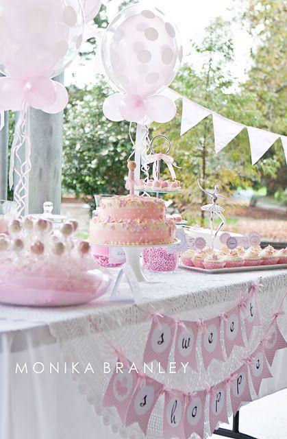pink ballerina baby shower decorations