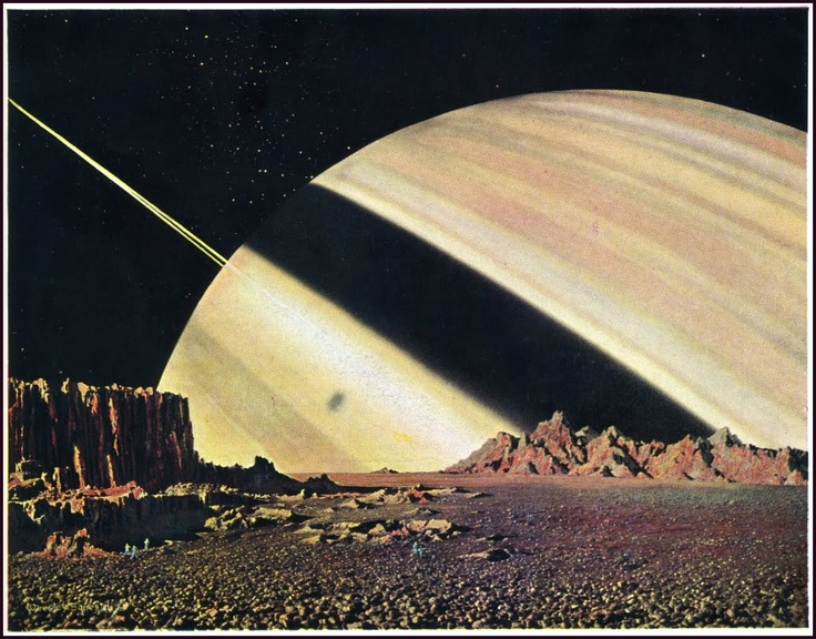 Chesley Bonestell - Saturn and Mimas