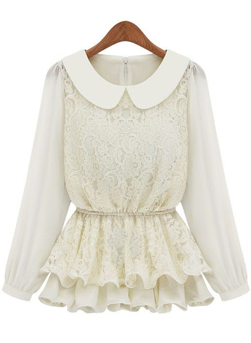 White Long Sleeve Blouse With Ruffles 32