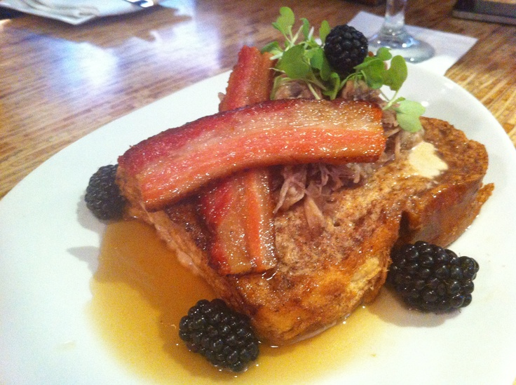 Goat Cheese Stuffed French Toast with Duck Confit, maple Syrup, Bacon ...