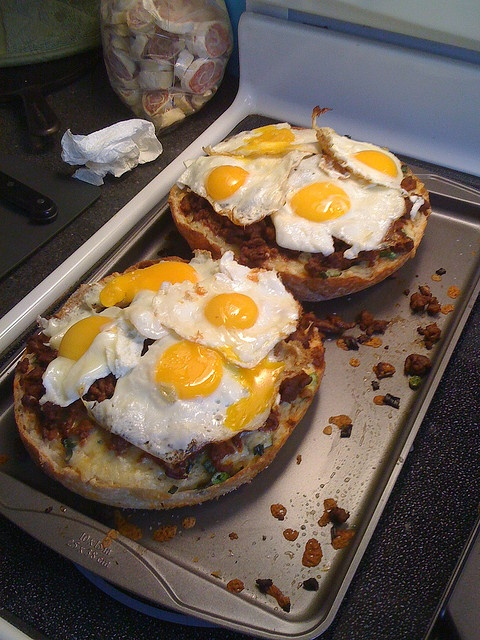 ... bread, a three-cheese blend and chorizo, topped with fried eggs