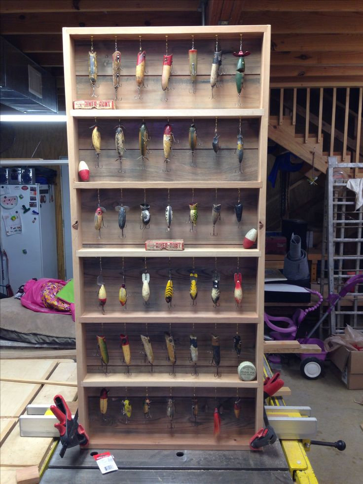 Antique fishing lure display diy murray cod pinterest for Fishing lure display case