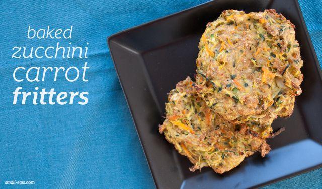Baked Zucchini Carrot Fritter from small-eats.com #vegetarian #vegan