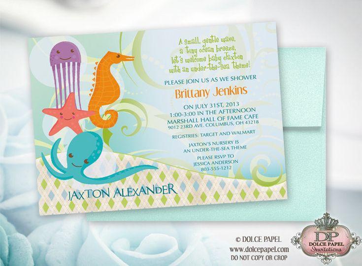 under the sea theme baby shower invitations 5x7 aquamarine metallic e
