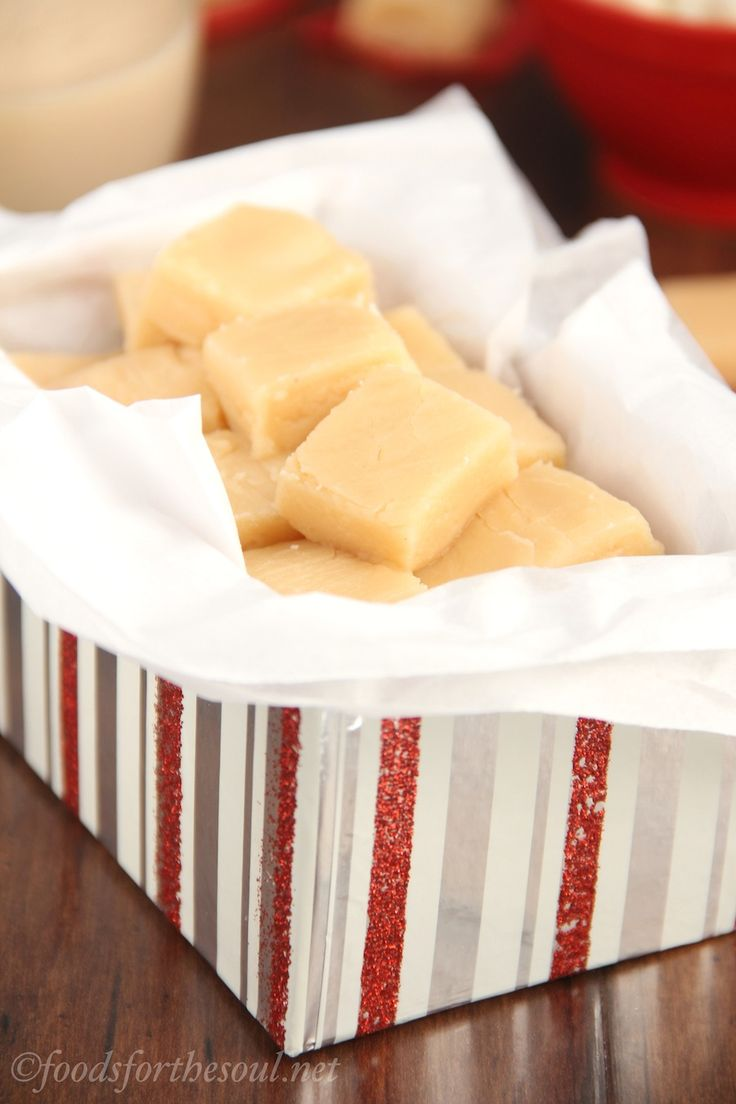 Skinny Eggnog Fudge -- only 4 ingredients & no candy thermometer ...