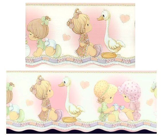 Vintage precious moments baby room and i love this wall paper border