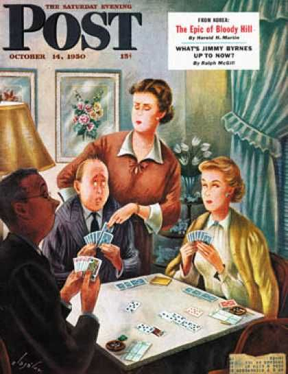 Saturday Evening Post cover, October 14, 1950 --  Bridge Game (Constantin Alajalov)