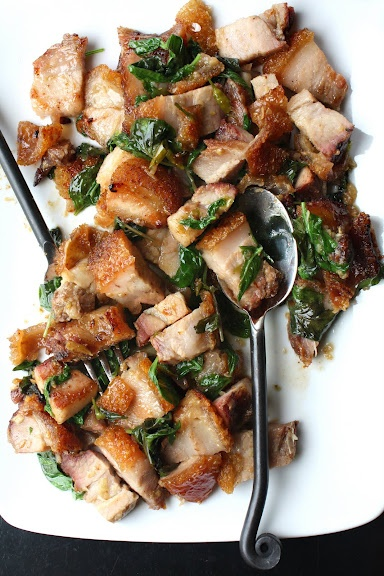 Thai Spicy Basil with Crispy Pork Belly....Ahhhh