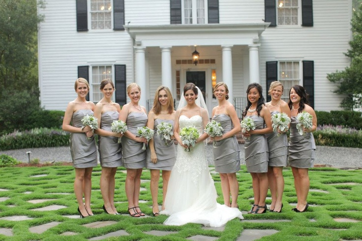 Bridal party on front lawn at Primrose Cottage in Roswell Georgia, East Cobb Weddings