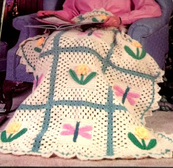 Crochet Pattern Afghan Dragon Flies And Flowers Quilt ...