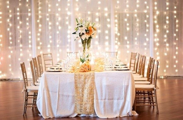 Twinkle Twinkle Beautiful #Bride! We love the look of twinkle lights behind delicate chiffon curtains. Add a sequin table runner for pure romantic perfection!