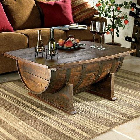 wine barrel turned coffee table. Love!