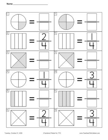 Fraction Worksheets 1St Grade Free Worksheets Library | Download ...